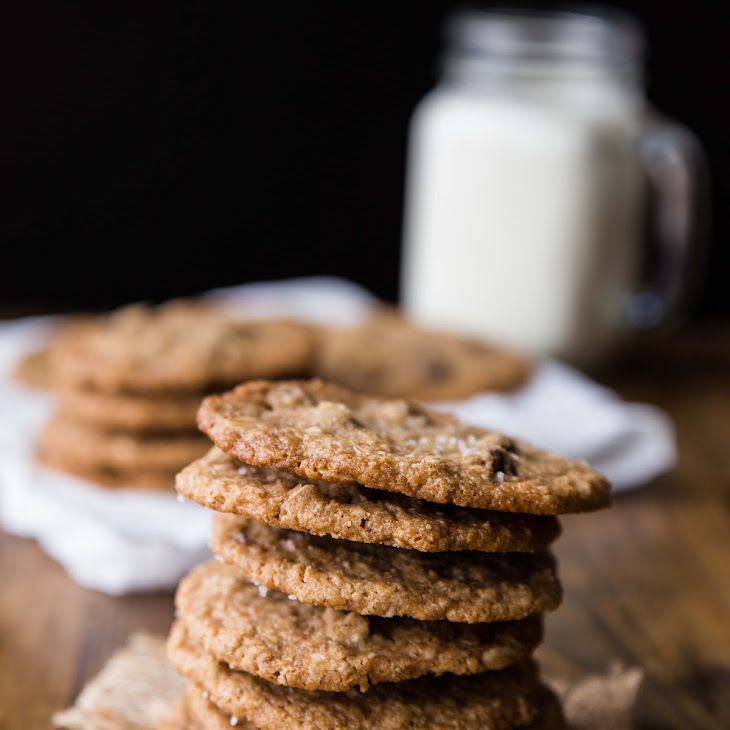 Thin and Crispy Salted Almond Butter Oat Cookies Recipe