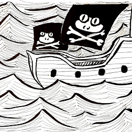Pirate Frogs by Melissa Toothman - Drawing All Drawing ( waves, pirates, pirate, frog, sail, ocean, ship, frogs, sea, boat )