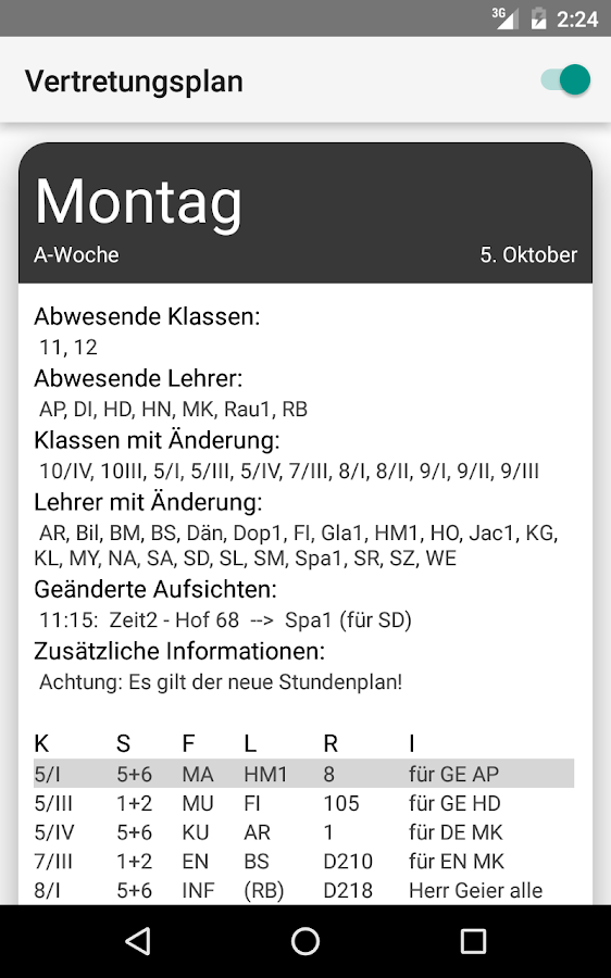 VPlanWhs – Screenshot