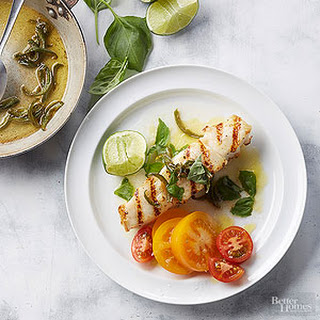 Basil Halibut with Jalapeno Butter