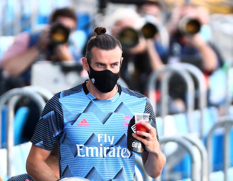 Gareth Bale wearing a protective face mask during a match on July 16 2020.