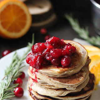 Ricotta Orange pancakes with Cranberry sauce.
