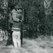me (age 3) and Steve (age 7), hugging