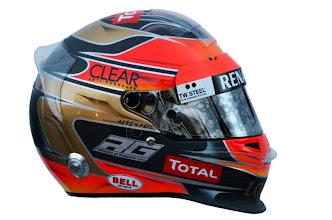Photo: The helmet of Romain Grosjean (FRA), Lotus F1 Team.Formula One Testing, Day 3, Jerez, Spain, Thursday 9 February 2012.