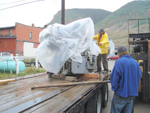 Photo: The Miehle Vertical safely on the trailer for the move down to the house.