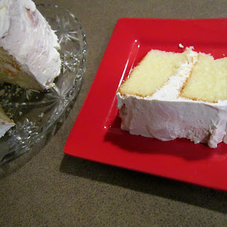 Peachy Keen Cake with Cool Whip Frosting.
