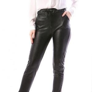 Pantaloni casual din piele ecologica cu elastic in talie, Negru