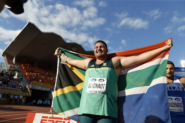 Kyle Blignaut of SA celebrates at the 2018 IAAF World U20 Championships in Tampere, Finland, July 10 2018. Picture: REUTERS