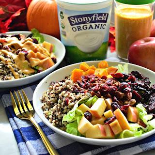 Harvest Quinoa Salad with Pumpkin Yogurt Dressing.