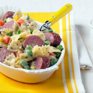 Bow Tie Pasta with Turkey Kielbasa.