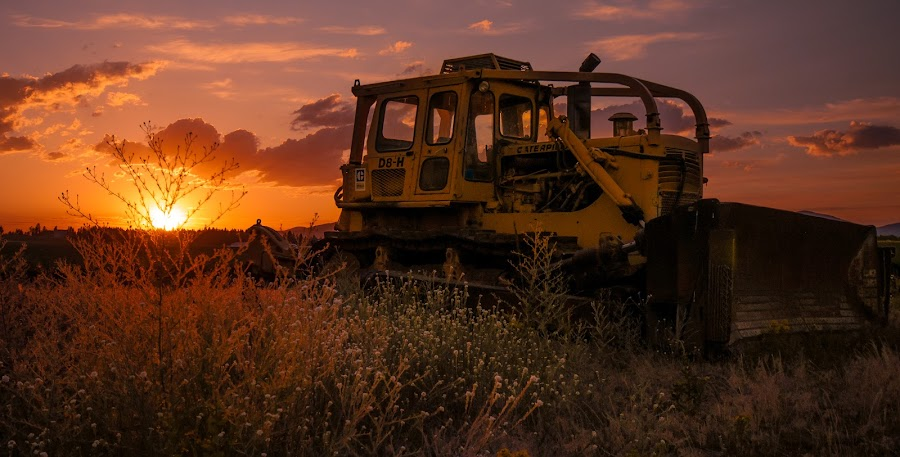 Hayden by Brianne Toma - Transportation Other ( warm, america, thirds, north idaho, northwest, object, cinematic, vanish point, farm, sky, dramatic, perspective, nikon, tractor, golden hour, clouds, hayden, scenic, rural, field, coeur d'alene, magic, wide angle, sunset, moody, low,  )