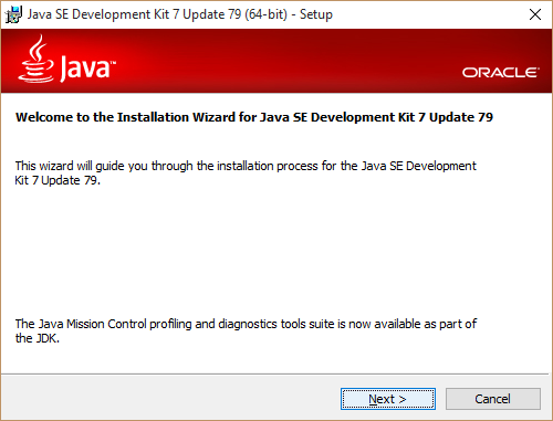 Welcome Java installation wizard