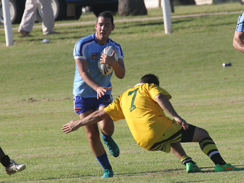 Jed Smith in action on Sunday against Collegian Warriors. Smith was one of Narrabri's seven tryscorers, crossing for the first four-pointer after just seven seconds.