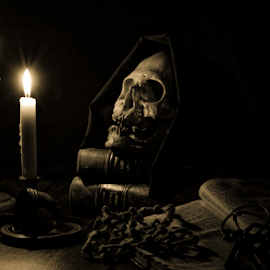 Doris by Fico Stein Montagne - Artistic Objects Still Life ( candlestick, light, nikon d7000, still life, skull, low light,  )