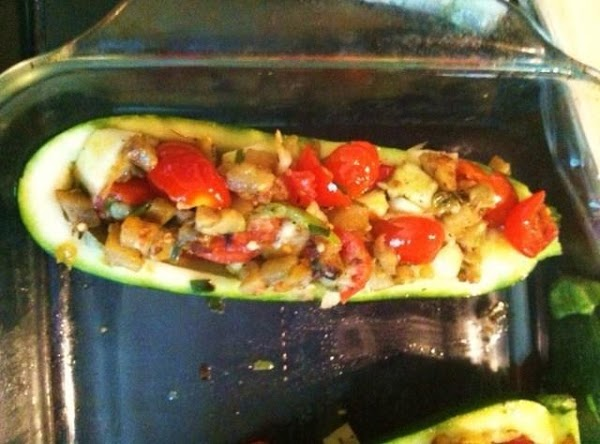Remove from heat. Add in the Zucchini squash. Stir to combine with other vegetables....