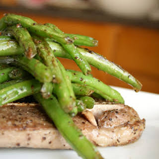 Sautéed Lamb Chops with Roasted Green Beans.