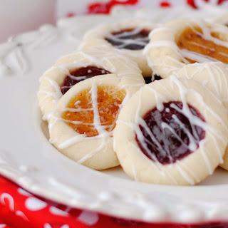 Almond Shortbread Thumbprint Cookies with Raspberry Jam.