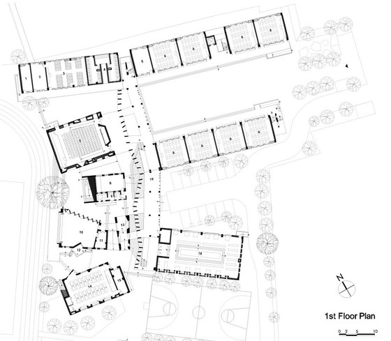 Photo: XiaoQuan Elementary School by Trace Architecture Office (CN)  first floor plan  visit Architonic for more details: www.architonic.com/aisht/xiaoquan-ethnic-elementary-school/5101220
