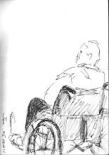 Photo: 看生死2011.01.25鋼筆 90年底我調回宜蘭值班的第一天,就遇上了監內出名難搞的人犯對著我咆嘯,接下來的三個月我們的過招十分精彩。這一回他再次入監服刑,患了癌症,身子皮包骨得不成人形,不是吵鬧足以形容的景況,但最近的日子他卻改變了不少,人變得沈靜,氣色也好多了,我將速寫拿給他看: 哈哈!怎麼對我這麼好呢! 誰叫我們是老朋友呢? 也是啦!也是啦! 你的氣色好很多呢! 一樣會死啦!而且不會太久了!哈哈哈! 看他豁達大笑的樣子,我突然明白,他已不再爭鬥,亦不再害怕,因為看透生死,他已能與死亡和諧共處。