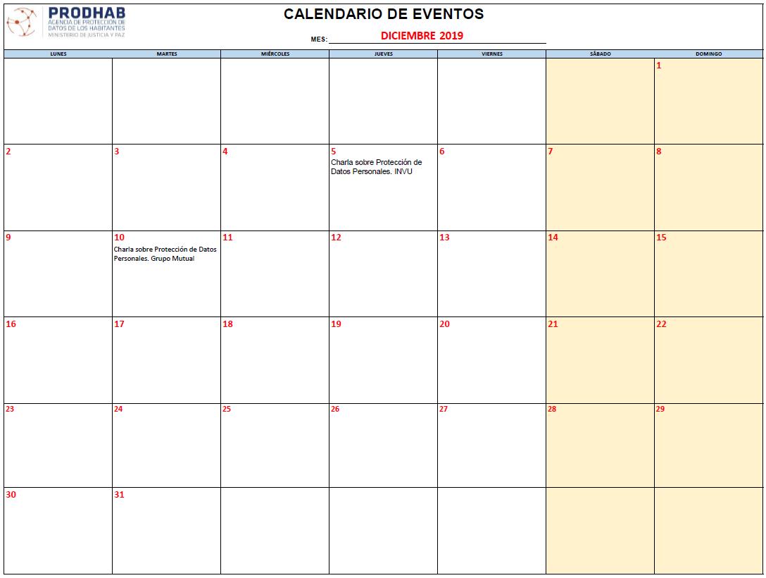 Calendario Capacitaciones PRODHAB