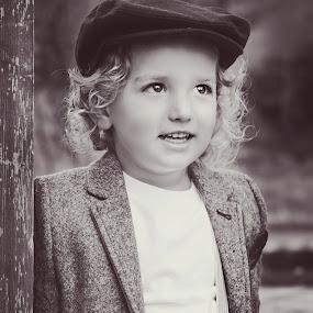Jax's hat by Jenny Hammer - Babies & Children Children Candids ( child, black and white, vintage, cute, boy )