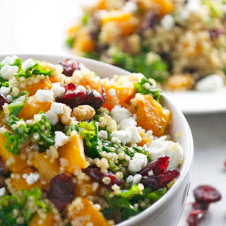 Butternut Squash Quinoa with Kale, Cranberries, Walnuts and Goat Cheese.