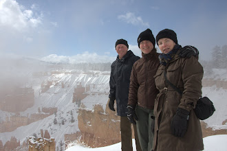 Photo: John, Emma and Jane at Sunset point, Bryce Canyon, just as the cloud clears