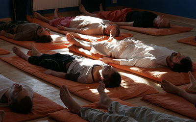 Yogis practicing yoga nidra