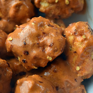 Whole30 Chicken Meatballs with Spicy 'Peanut' Sauce