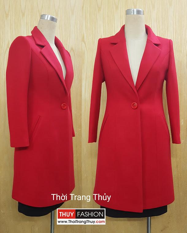 Áo khoác dạ nữ dáng dài cổ vest một cúc V512 Thời Trang Thủy