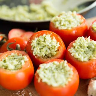 Cheesy Pesto Rice Stuffed Tomatoes.