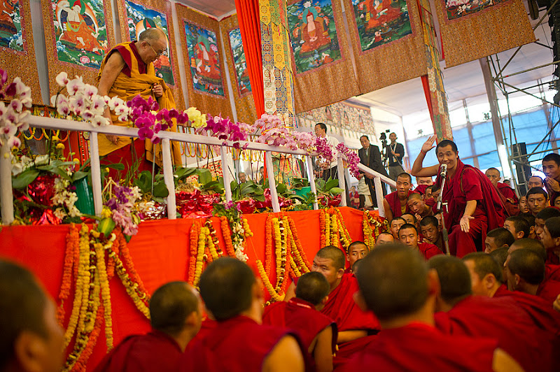 Photo: His Holiness the Dalai Lama watching monks debating during a break at the Kalachakra for World Peace in Bodh Gaya, India, on January 9, 2012. Photo/Tenzin Choejor/OHHDL
