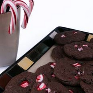 Gooey Chewy Double Chocolate Chip Candy Cane Cookies