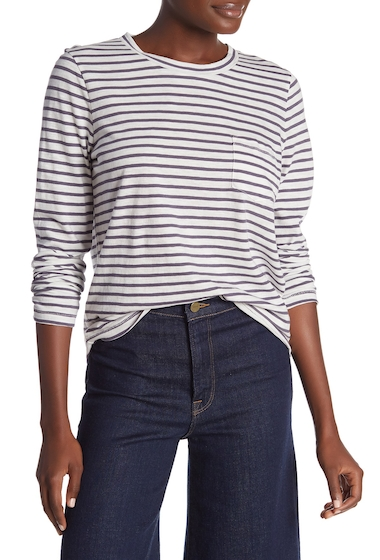 Imbracaminte Femei Madewell Striped Long Sleeve Pocket T-Shirt Regular Plus Size BRIGHT IVORY