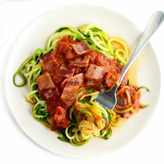 Zoodle Pasta with Mushroom and Onion Marinara and Bacon