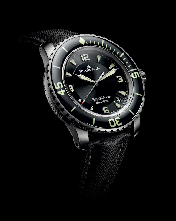 The new Fifty Fathoms Automatique model combines its ebony-black colour with a satin-brushed titanium case.