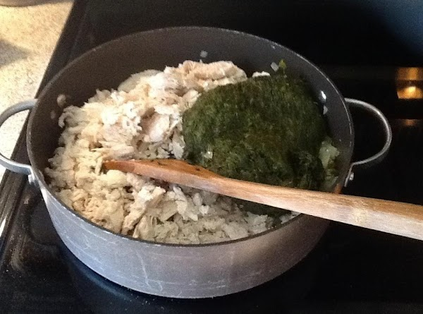Add chicken and spinach, mix well.