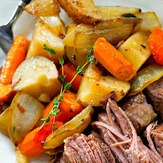 Balsamic Pot Roast with Caramelized Onions + Potatoes.