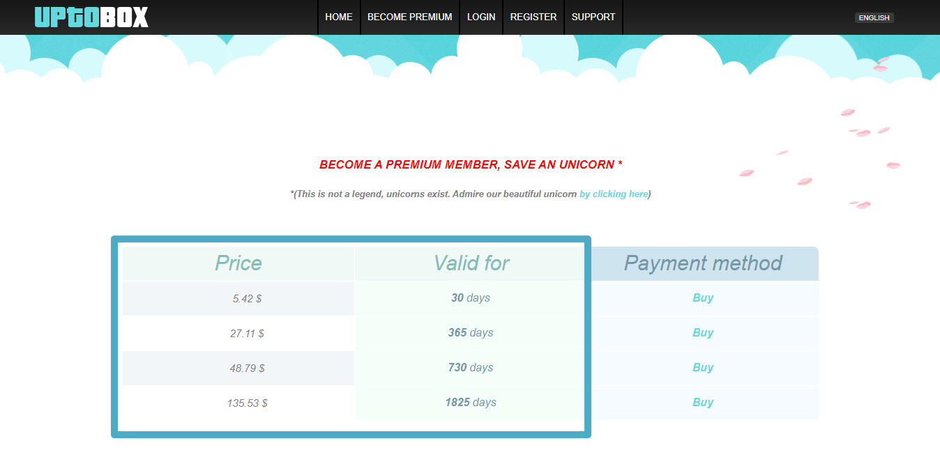 Uptobox Premium Account Pricing
