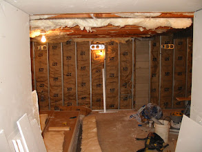 Photo: Theater room with insulation installed.
