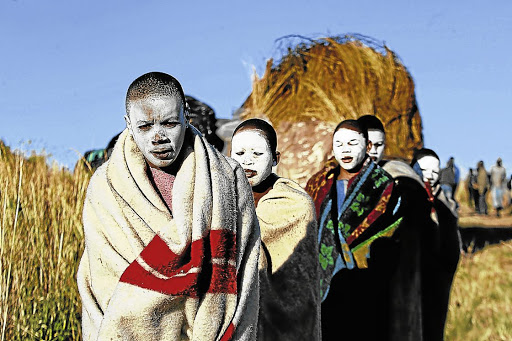 Safer: Participants in an initiation school. A new study has confirmed that older men who were circumcised when young are at less risk of HIV. Picture: DAILY DISPATCH /YANDISA MONAKALI