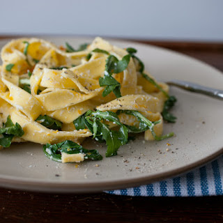 Pasta with Meyer Lemon Zest, Ricotta, Arugula, and Bottarga