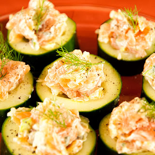 Smoked Salmon Salad in Cucumber Slices.