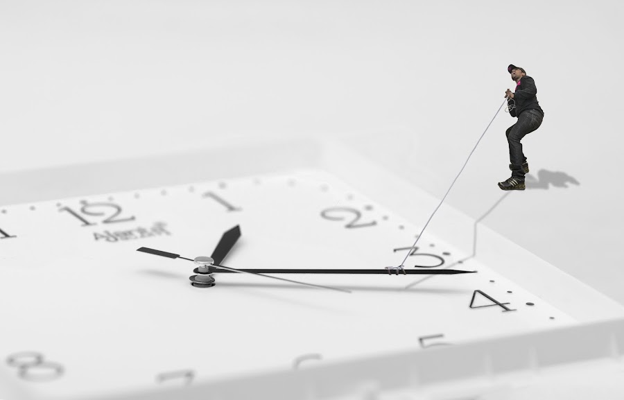 Make peace with your past. If you don't, you are wasting Time and The Future by Ravikanth Kurma - Digital Art People ( tiny, time, pwcclocks-dq, rope, clock, men, analog, past, miniature, object )