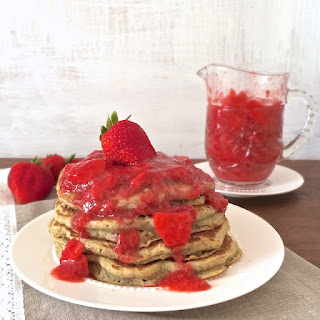 Everyday Whole Grain Pancakes with Strawberry Lemon Syrup