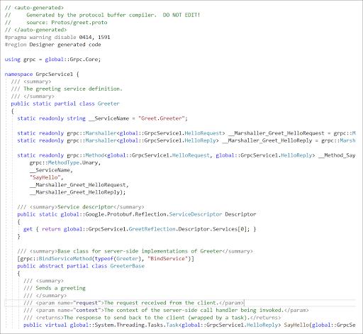 Building gRPC service on ASP.NET Core