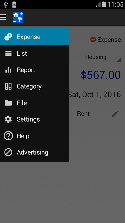 Expense & Revenue – screenshot