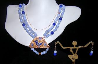 Photo: <BEREHYNYA> {Great Goddess Protectress} unique one-of-a-kind statement jewellery by Luba Bilash ART & ADORNMENT  #96 - SUNRISE SYMPHONY ~ СИМФОНІЯ СВІТАНКУ - copper enamel pendant; blue lace agate; lapis lazuli; FW pearls; rose gold vermeil $160/set * Available at Oseredok Boutique, Winnipeg SOLD