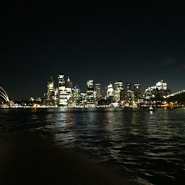 Sydney Nightscape by Daniel Wheeler - City,  Street & Park  Skylines ( photos, lights, harbour bridge, harbour, australia, night, ocean, opera house, sydney, city )