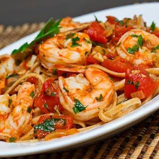 Shrimp Linguine in a Tomato and White Wine Sauce.